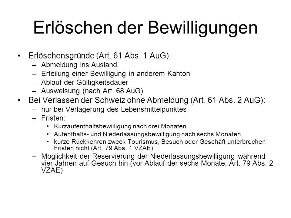 Erlöschen der Bewilligungen Erlöschensgründe (Art. 61 Abs. 1 AuG): –Abmeldung ins Ausland –Erteilung einer Bewilligung in anderem Kanton –Ablauf der G