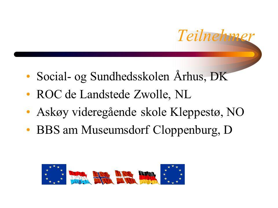Teilnehmer Social- og Sundhedsskolen Århus, DK ROC de Landstede Zwolle, NL Askøy videregående skole Kleppestø, NO BBS am Museumsdorf Cloppenburg, D