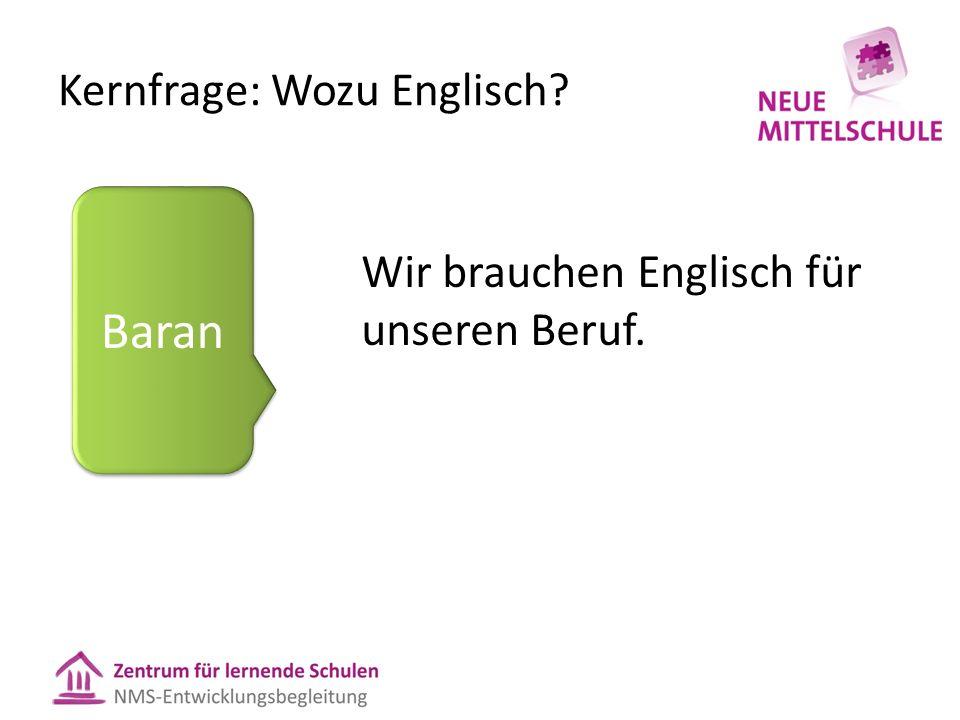Kernfrage: Wozu Englisch Wir brauchen Englisch für unseren Beruf. Baran