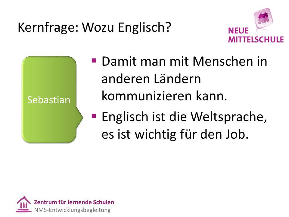 Kernfrage: Wozu Englisch.  Damit man mit Menschen in anderen Ländern kommunizieren kann.