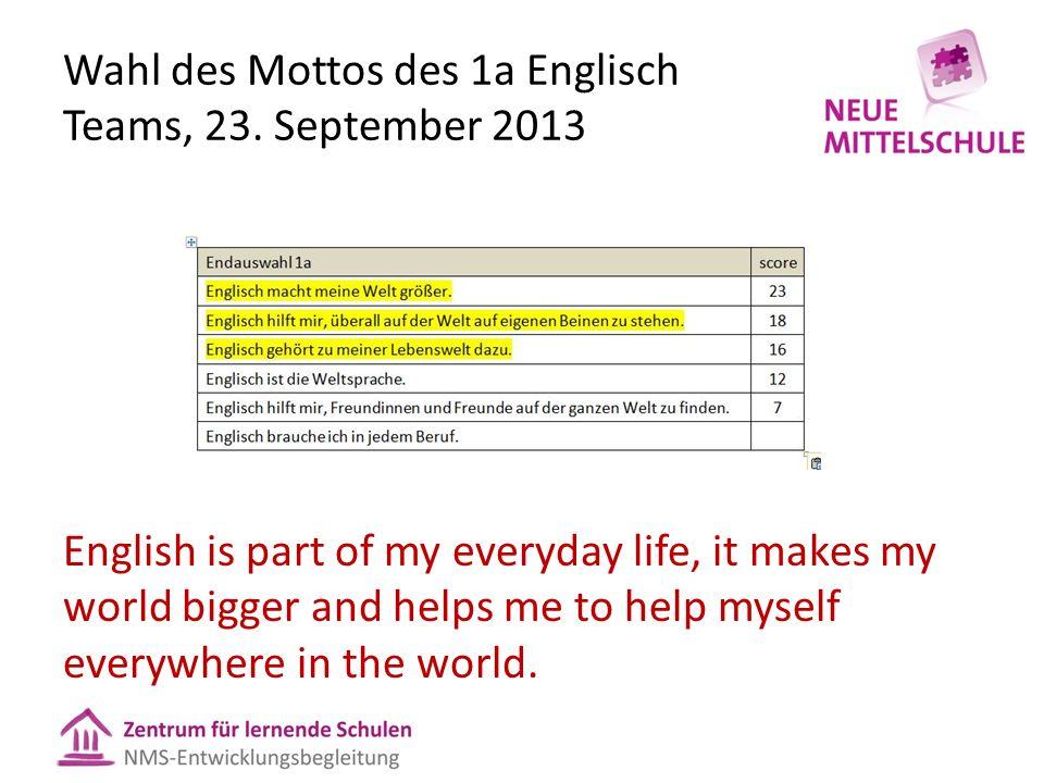 Wahl des Mottos des 1a Englisch Teams, 23.