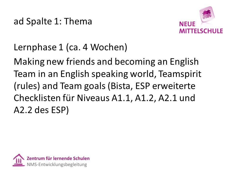 ad Spalte 1: Thema Lernphase 1 (ca.
