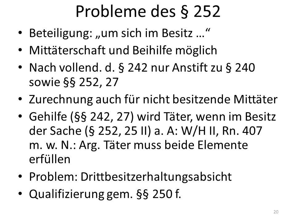 """Probleme des § 252 Beteiligung: """"um sich im Besitz … Mittäterschaft und Beihilfe möglich Nach vollend."""