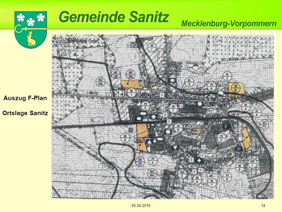 Auszug F-Plan Ortslage Sanitz 05.04.201614