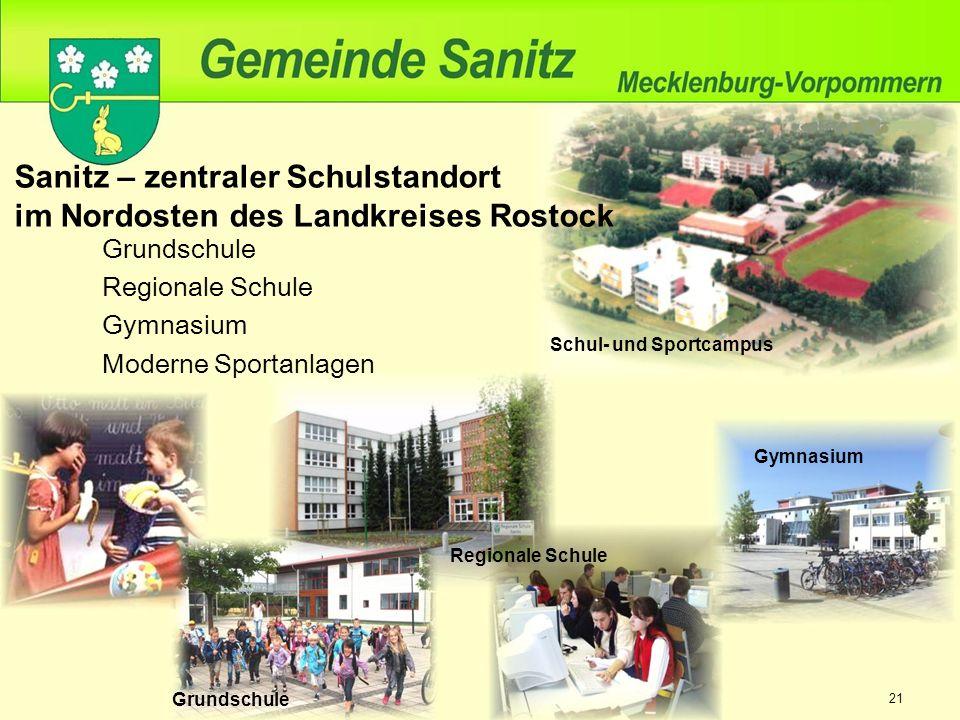 Grundschule Regionale Schule Gymnasium Moderne Sportanlagen Sanitz – zentraler Schulstandort im Nordosten des Landkreises Rostock Schul- und Sportcampus Gymnasium Grundschule Regionale Schule 21