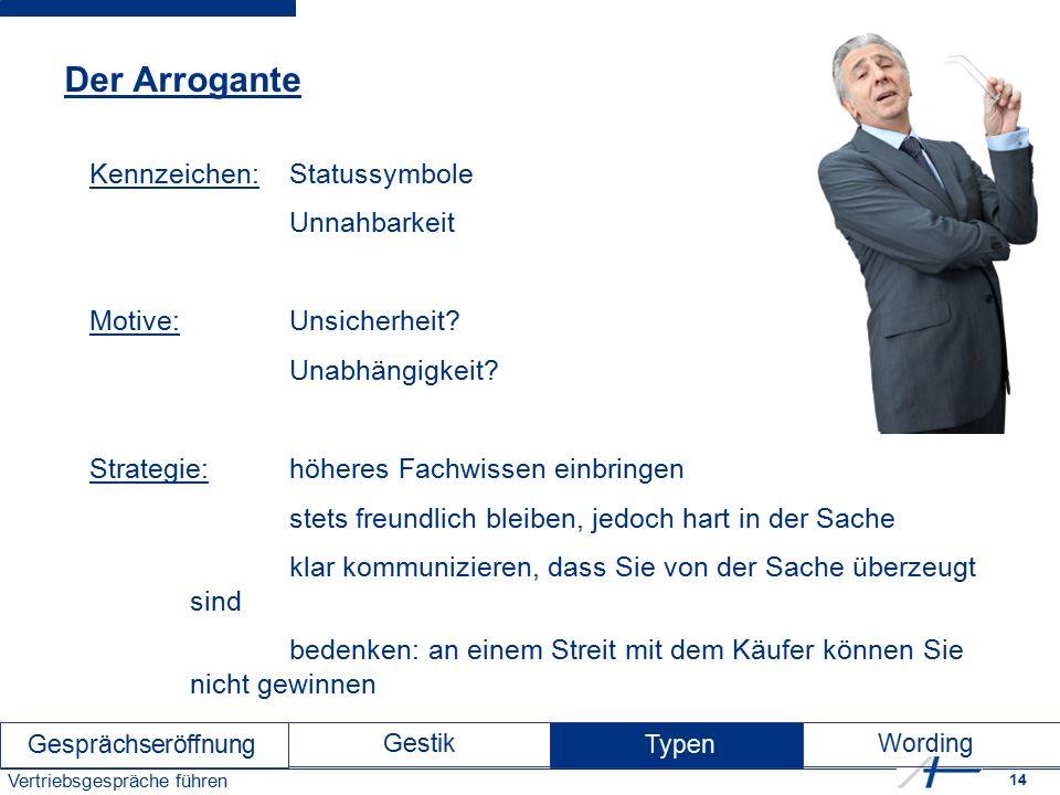 14 Vertriebsgespräche führen Der Arrogante Kennzeichen: Statussymbole Unnahbarkeit Motive: Unsicherheit.