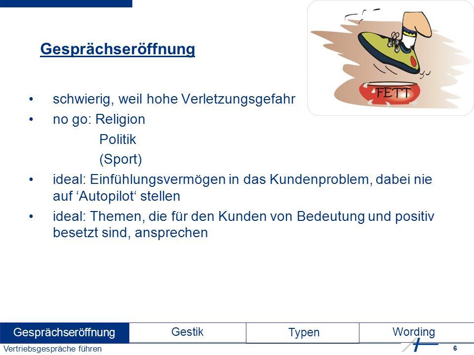 17 Vertriebsgespräche führen Der Listige Kennzeichen: Fuchs unannehmbare Forderungen z.T.