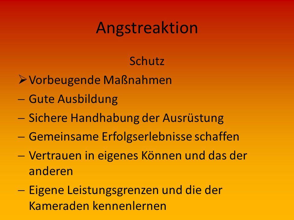 Angstreaktion Wirkungen  Angstreaktionen von Einsatzkräften Auch Einsatzkräfte sind nur Menschen, daher tritt auch bei ihnen die Schutzfunktion der A