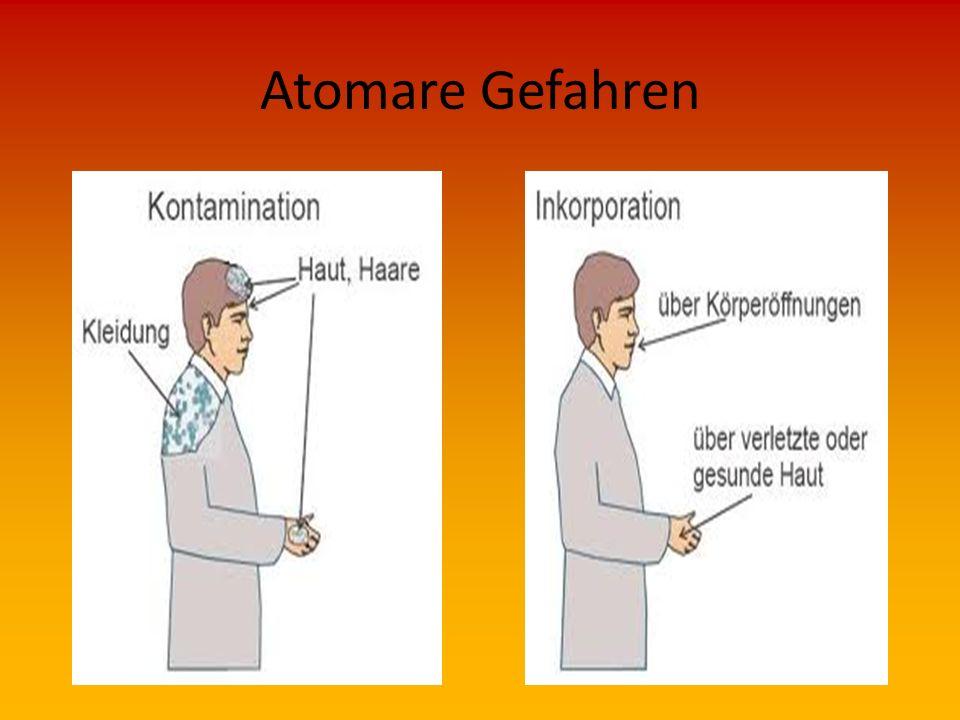 Atomare Gefahren Wirkung  Gefährdungen  Innere Verunreinigung (auch als Inkorporation bezeichnet) Aufnahme radioaktiver Stoffe in den Körper, die do