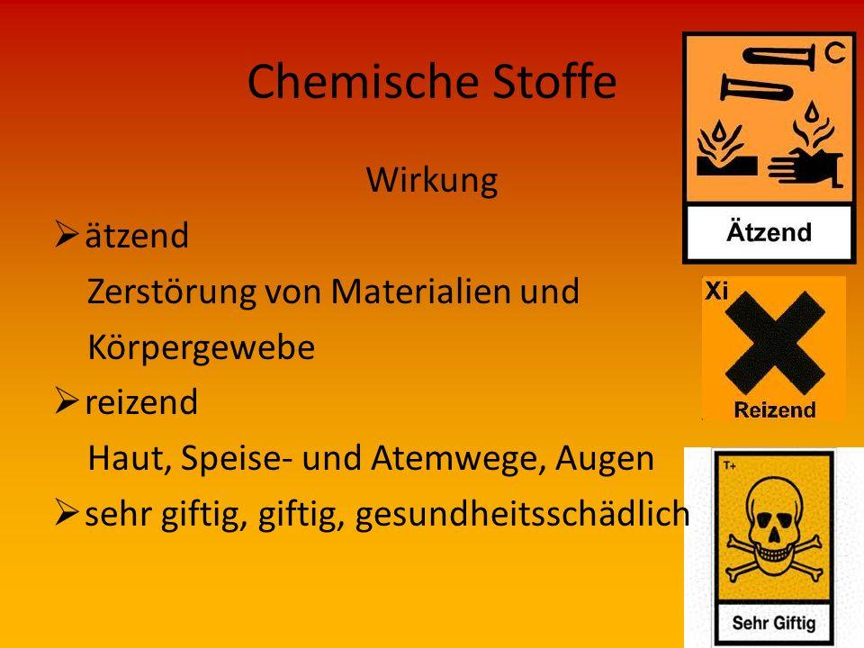 Chemische Stoffe Vorkommen  Bei Feuerwehreinsätzen fast überall möglich z.B. Lager, chemische Industrie, besondere Verarbeitungsbetriebe, Verkaufsstä