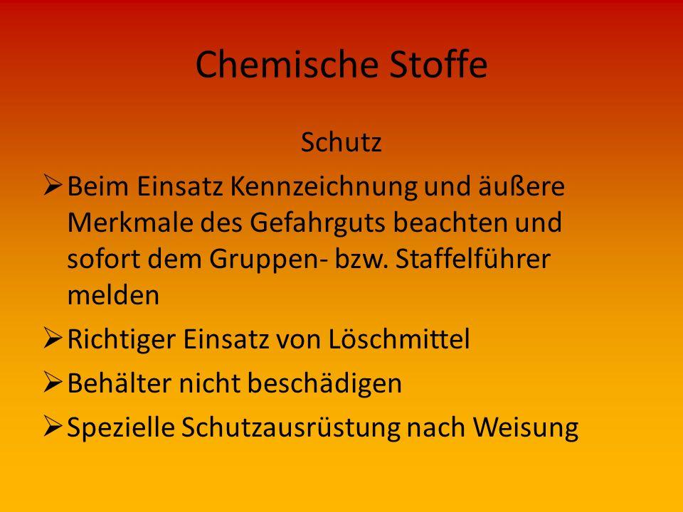 Chemische Stoffe Wirkung  brennbar  brandfördernd  explosionsgefährlich  krebserregend  fortpflanzungsgefährdend  umweltgefährlich (Wasser, Luft