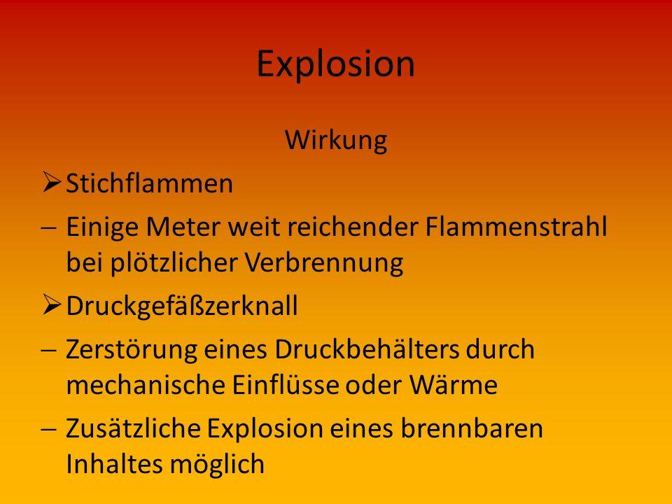 Explosion Wirkung  Explosion  Außerordentlich Schnell verlaufende Verbrennung  Starke Wärmeentwicklung  Flammen  Hoher Druckanstieg  Greller Lic