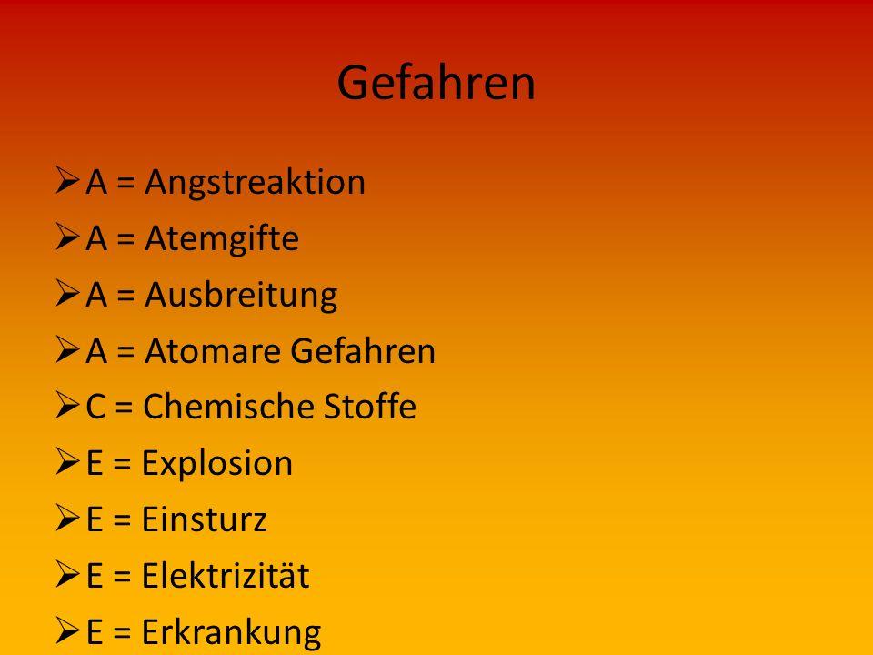 Gefahren  A = Angstreaktion  A = Atemgifte  A = Ausbreitung  A = Atomare Gefahren  C = Chemische Stoffe  E = Explosion  E = Einsturz  E = Elektrizität  E = Erkrankung