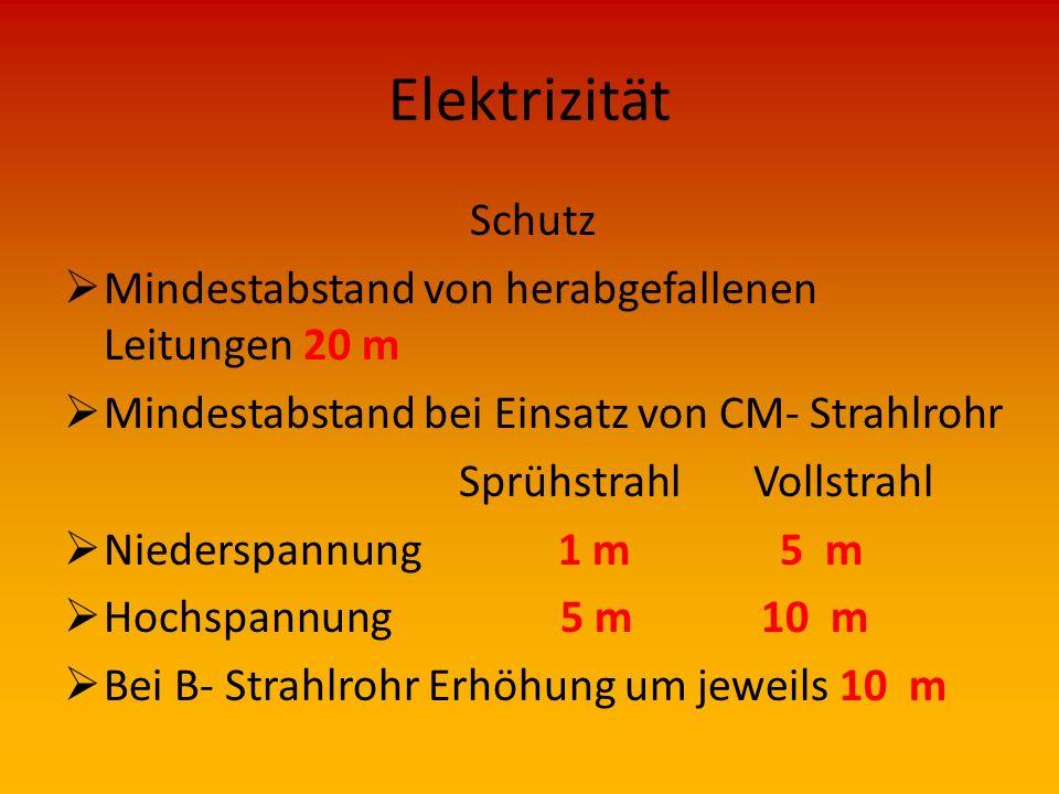 Elektrizität Schutz  Immer davon ausgehen, dass Spannung noch nicht abgeschaltet !!!  Bei Feuerwehreinsätzen Schutzeinrichtungen häufig zerstört  M