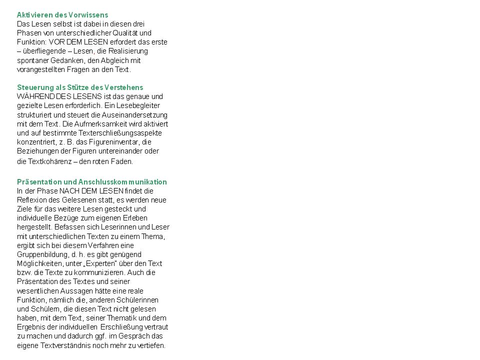 Aufgaben - Lesestrategien Survey: Texte überfliegen: erster Überblick über Struktur und Inhalt, Aktivieren von Vorwissen Question: Fragen an den Text stellen Read: Text aktiv durcharbeiten, Abschnitte lesen und Fragen beantworten Recite: Inhalte wiederholen, Verstehensleistungen überprüfen Review: Gelesenes überprüfen, indem die ersten vier Schritte mit dem Ziel eines Gesamtüberblicks wiederholt werden Routinen nach Robinson 1948, Rosebrock/Nix, S.