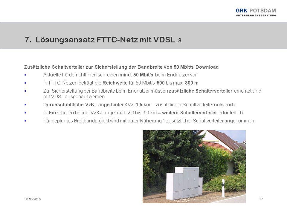 30.05.201617 7. Lösungsansatz FTTC-Netz mit VDSL _3 Zusätzliche Schaltverteiler zur Sicherstellung der Bandbreite von 50 Mbit/s Download  Aktuelle Fö