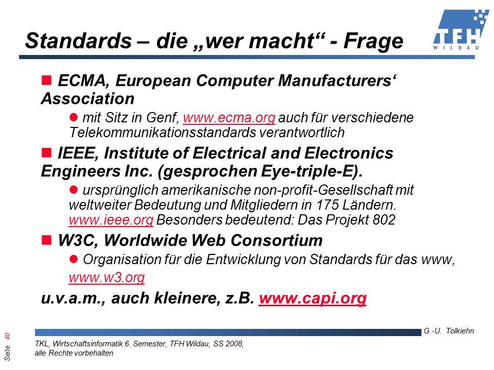 Seite 40 G.-U. Tolkiehn TKL, Wirtschaftsinformatik 6.
