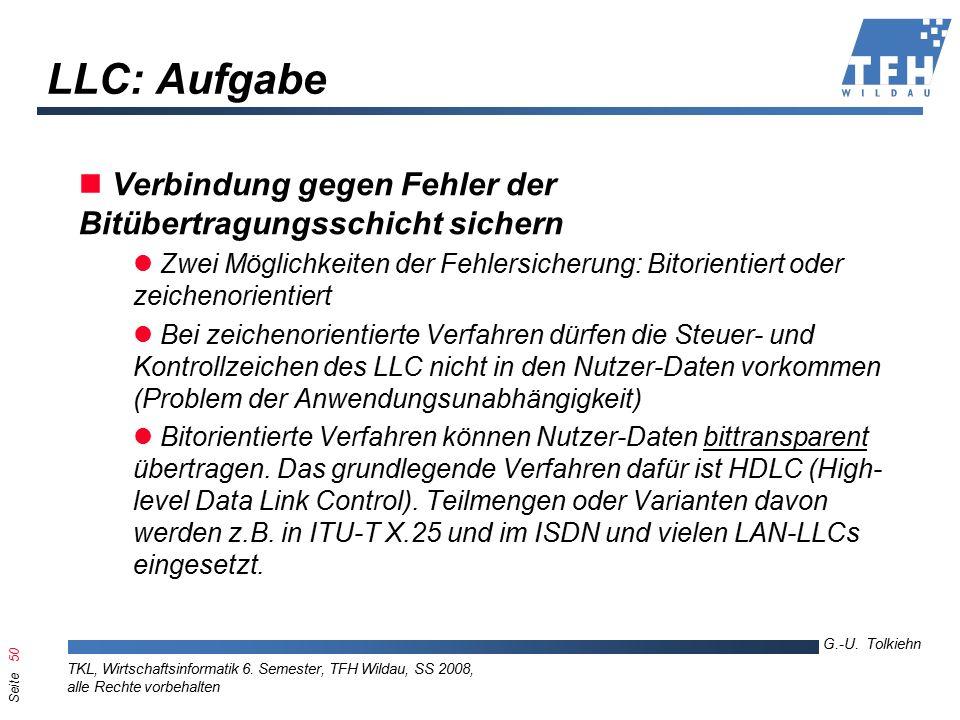 Seite 50 G.-U. Tolkiehn TKL, Wirtschaftsinformatik 6.