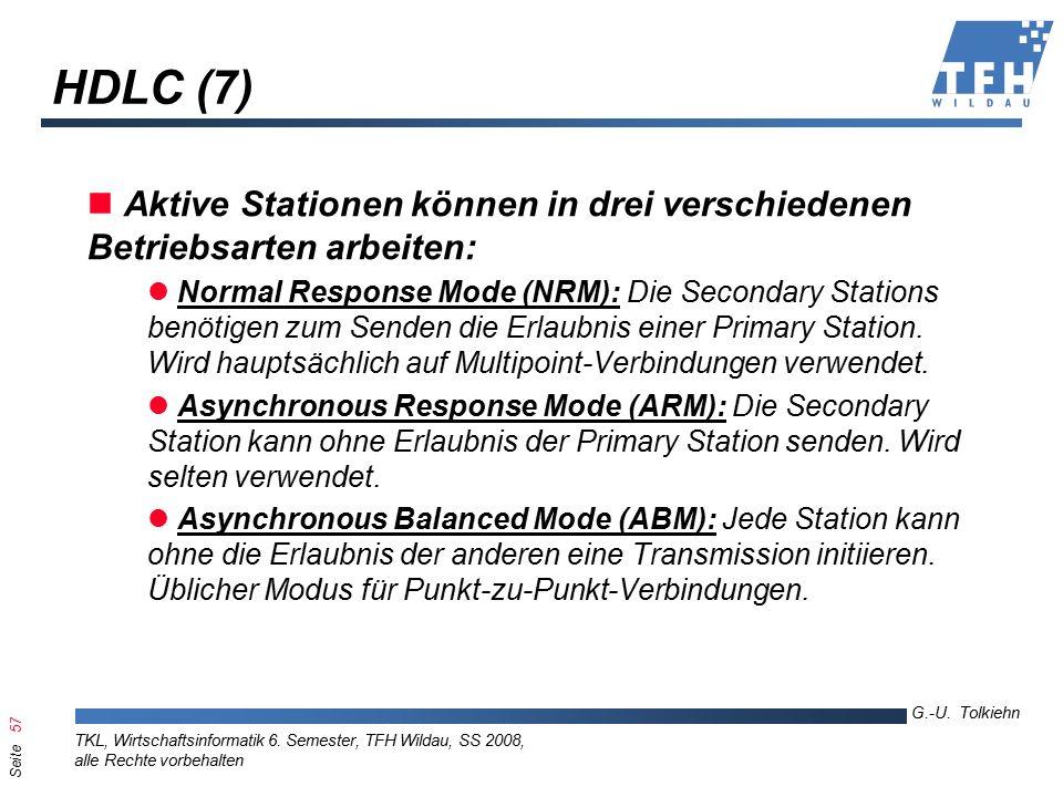 Seite 57 G.-U. Tolkiehn TKL, Wirtschaftsinformatik 6.
