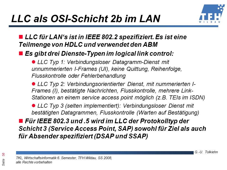 Seite 58 G.-U. Tolkiehn TKL, Wirtschaftsinformatik 6.