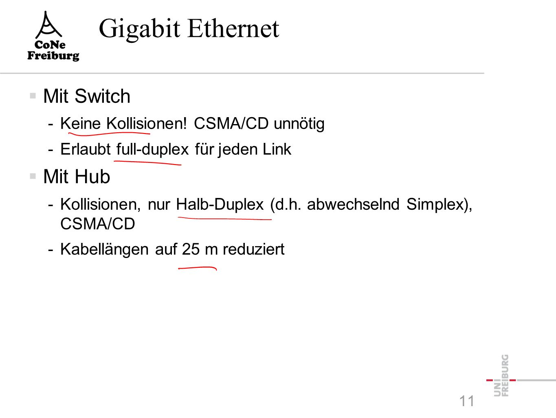 Gigabit Ethernet  Gigabit-Ethernet: 1995 -Ziel: Weitgehende Übernahme des Ethernet-Standards  Ziel wurde erreicht durch Einschränkung auf Punkt-zu- Punkt-Verbindungen -In Gigabit-Ethernet sind an jedem Kabel genau zwei Maschinen oder zumindestens ein Switch oder Hub 10