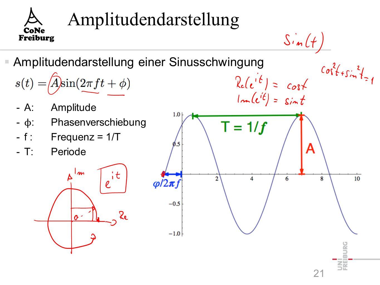 Physikalische Grundlagen  Bewegte elektrisch geladene Teilchen verursachen elektromagnetische Wellen -Frequenz f : Anzahl der Oszillationen pro Sekunde -Maßeinheit: Hertz -Wellenlänge λ: Distanz (in Metern) zwischen zwei Wellenmaxima -Durch Antennen können elektro-magnetische Wellen erzeugt und empfangen werden -Die Ausbreitungsgeschwindigkeit von elektro-magnetischen Wellen im Vakuum ist konstant: Lichtgeschwindigkeit c ≈ 3 ⋅ 10 8 m/s  Zusammenhang: λ ⋅ f = c 20