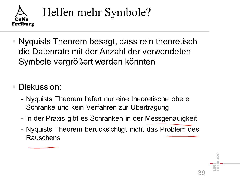 Nyquists Theorem  Definition -Die Bandweite H ist die Maximalfrequenz in der Fourier- Zerlegung  Angenommen: -Die maximale Frequenz des empfangenen Signals ist f=H in der Fouriertransformation (Komplette Absorption [unendliche Dämpfung] aller höheren Frequenzen) -Die Anzahl der verschiedenen verwendeten Symbole ist V -Es treten keinerlei anderen Störungen, Verzerrungen oder Dämpfungen auf  Theorem von Nyquist -Die maximal mögliche Symbolrate ist höchstens 2 H baud.