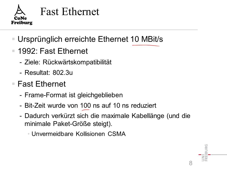 Switch versus Hub  Hub -verknüpft Ethernet-Leitungen nabenförmig -jede Verbindung hört alles -Durch CSMA/CD wird die Übertragungsrate reduziert  Switch -unterteilt die eingehenden Verbindungen in kleinere Kollisionsteilmengen -die Prüfsumme eines eingehenden Pakets wird überprüft -Kollisionen werden nicht weiter gegeben -interpretiert die Zieladresse und leitet das Paket nur in diese Richtung weiter 7