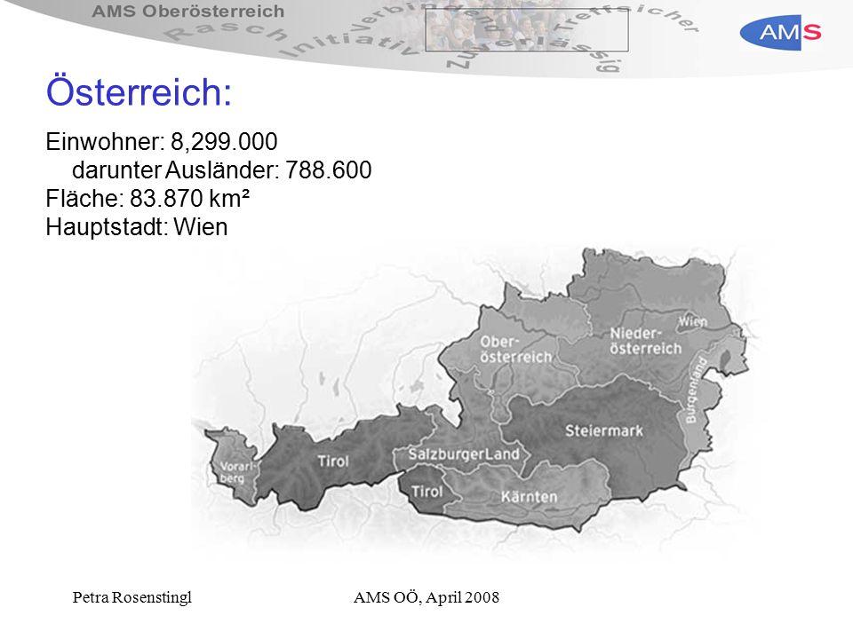 Petra RosenstinglAMS OÖ, April 2008 Österreich: Einwohner: 8,299.000 darunter Ausländer: 788.600 Fläche: 83.870 km² Hauptstadt: Wien