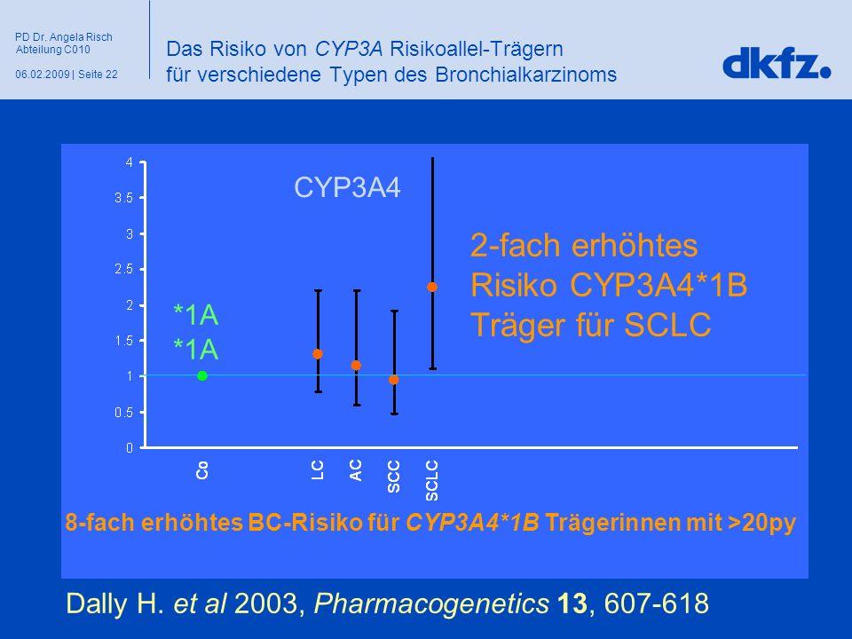 Seite 2206.02.2009 | PD Dr. Angela Risch Abteilung C010 Das Risiko von CYP3A Risikoallel-Trägern für verschiedene Typen des Bronchialkarzinoms Dally H