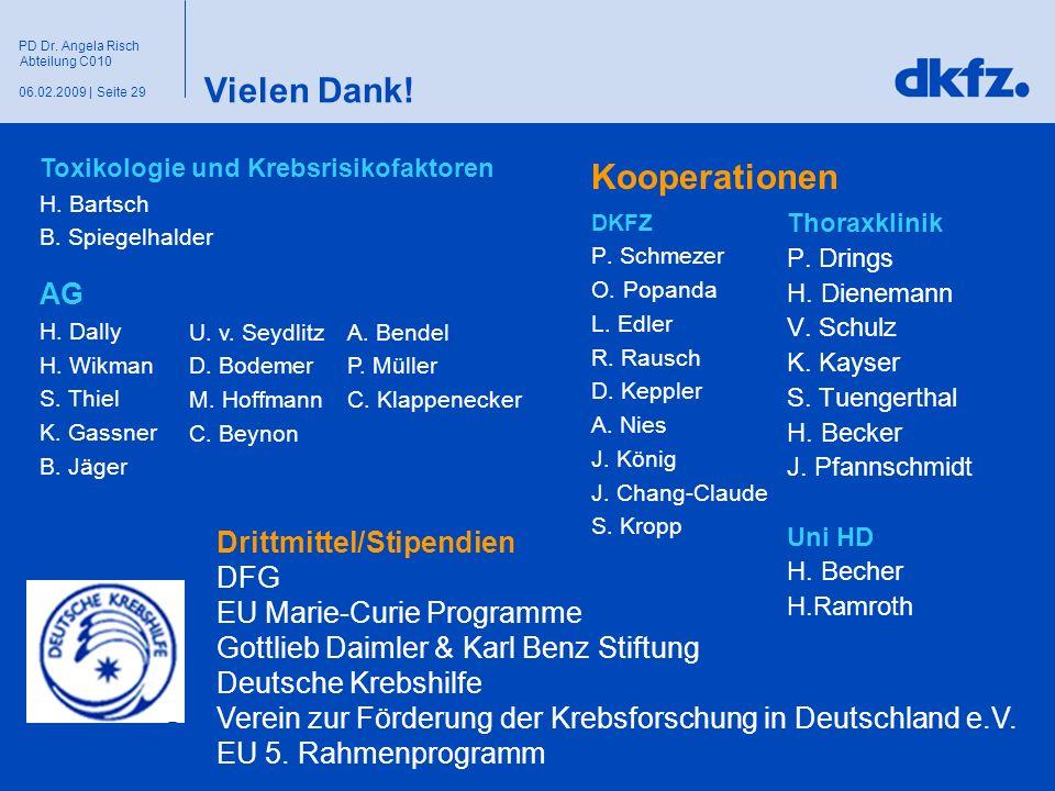 Seite 2906.02.2009 | PD Dr. Angela Risch Abteilung C010 Vielen Dank! DKFZ P. Schmezer O. Popanda L. Edler R. Rausch D. Keppler A. Nies J. König J. Cha