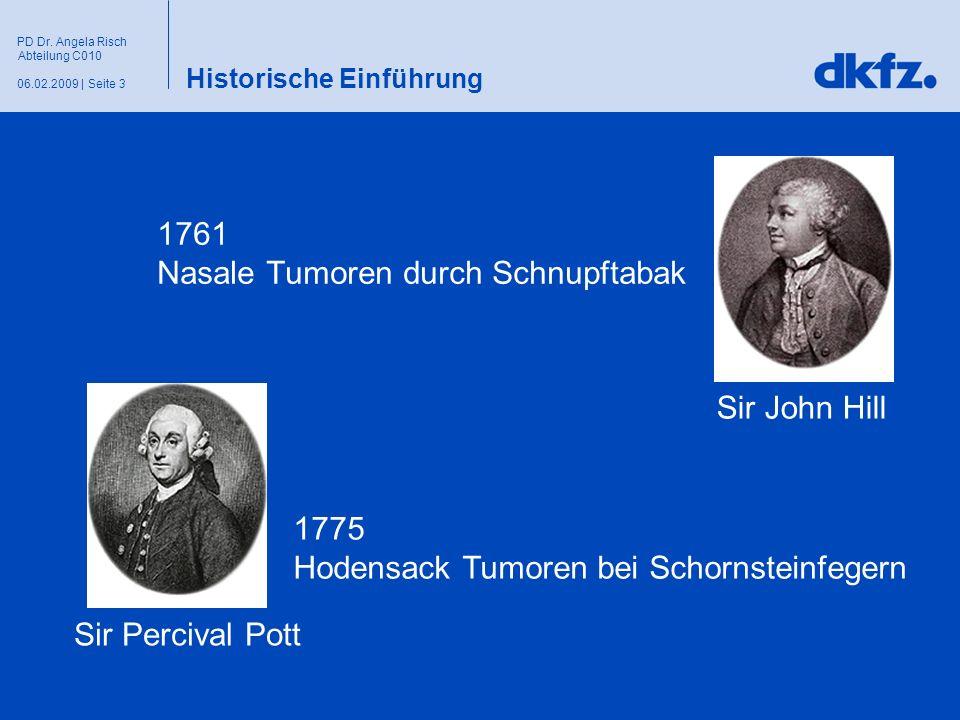 Seite 306.02.2009 | PD Dr. Angela Risch Abteilung C010 Historische Einführung 1761 Nasale Tumoren durch Schnupftabak Sir Percival Pott Sir John Hill 1