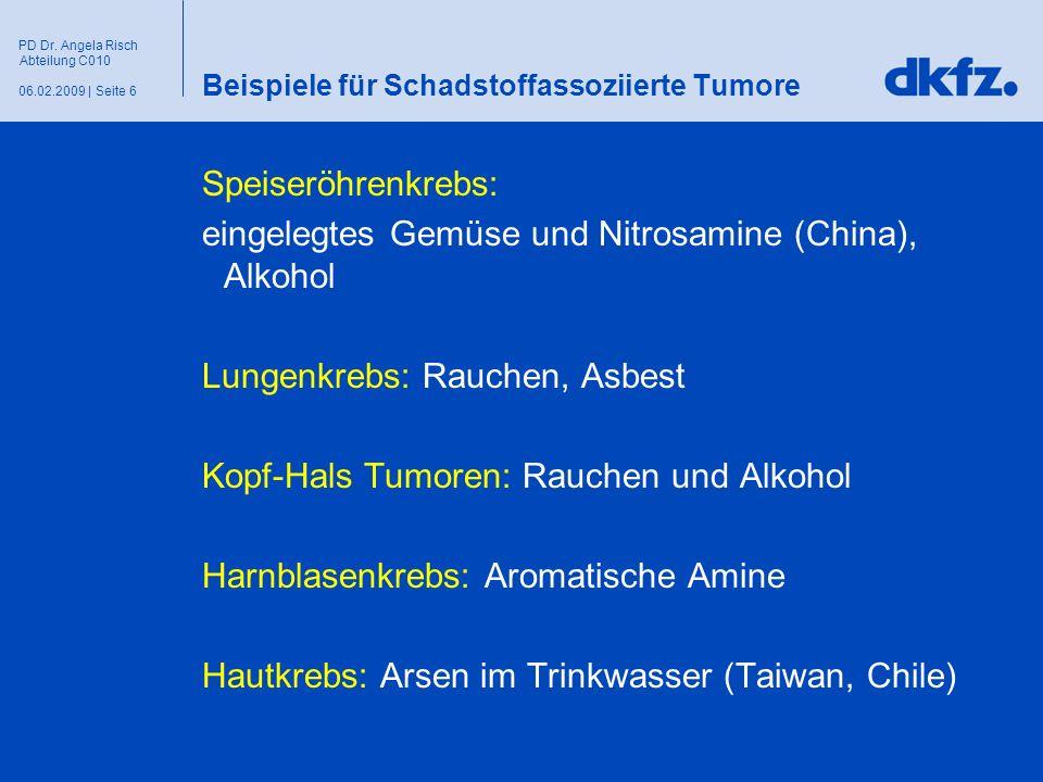 Seite 606.02.2009 | PD Dr. Angela Risch Abteilung C010 Beispiele für Schadstoffassoziierte Tumore Speiseröhrenkrebs: eingelegtes Gemüse und Nitrosamin