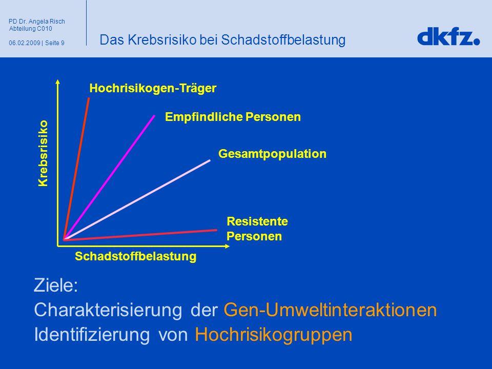 Seite 906.02.2009 | PD Dr. Angela Risch Abteilung C010 Schadstoffbelastung Krebsrisiko Hochrisikogen-Träger Empfindliche Personen Gesamtpopulation Res