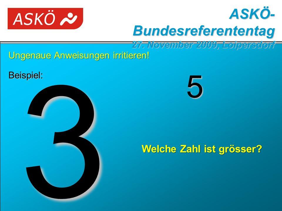 Beispiel: ASKÖ- Bundesreferententag 27. November 2009, Loipersdorf 3 5 Welche Zahl ist grösser.