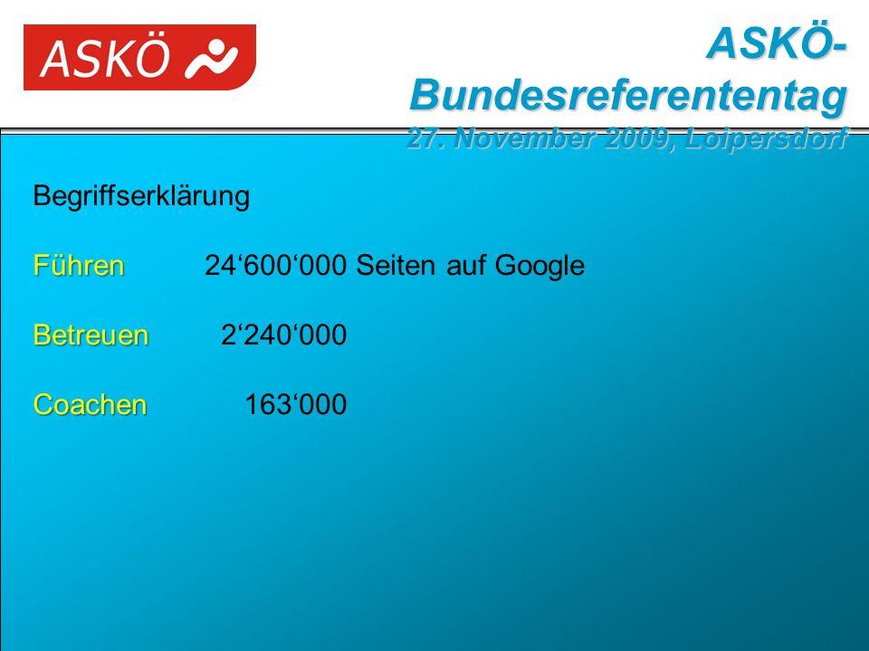 Begriffserklärung Führen Führen24'600'000 Seiten auf Google Betreuen Betreuen2'240'000 Coachen Coachen163'000 ASKÖ- Bundesreferententag 27.