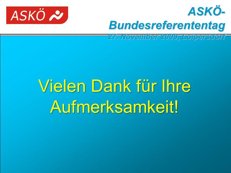 Vielen Dank für Ihre Aufmerksamkeit! ASKÖ- Bundesreferententag 27. November 2009, Loipersdorf