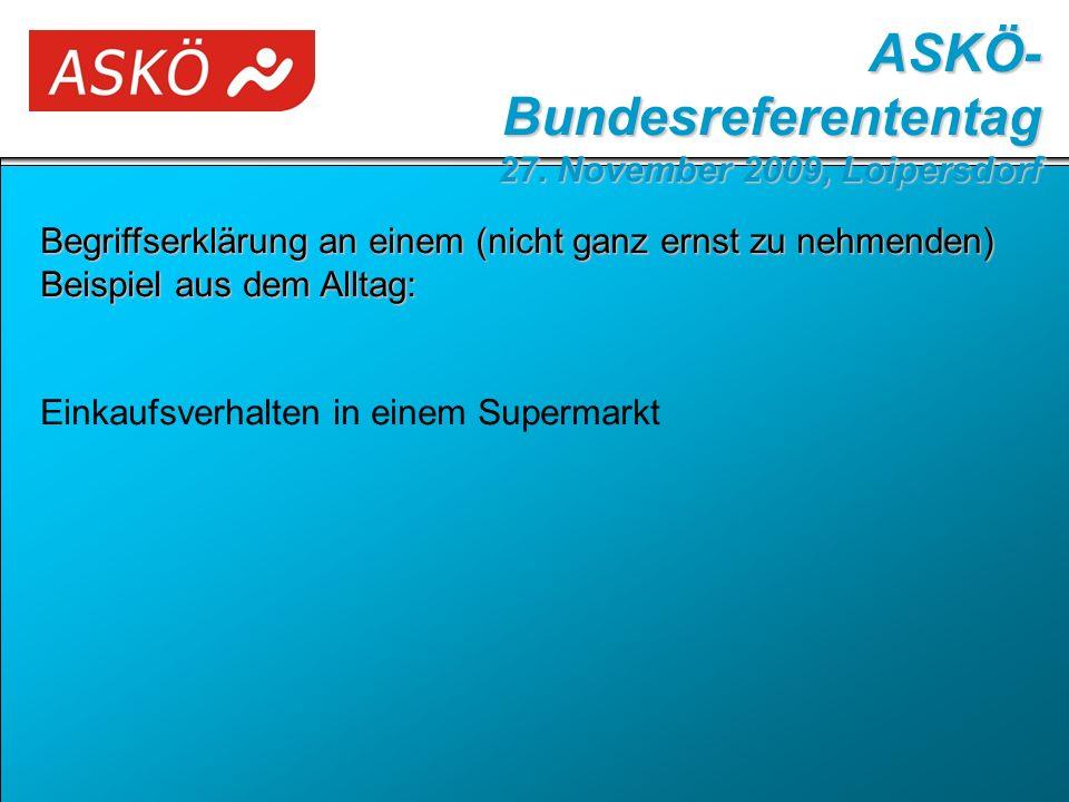Begriffserklärung an einem (nicht ganz ernst zu nehmenden) Beispiel aus dem Alltag: Einkaufsverhalten in einem Supermarkt ASKÖ- Bundesreferententag 27.