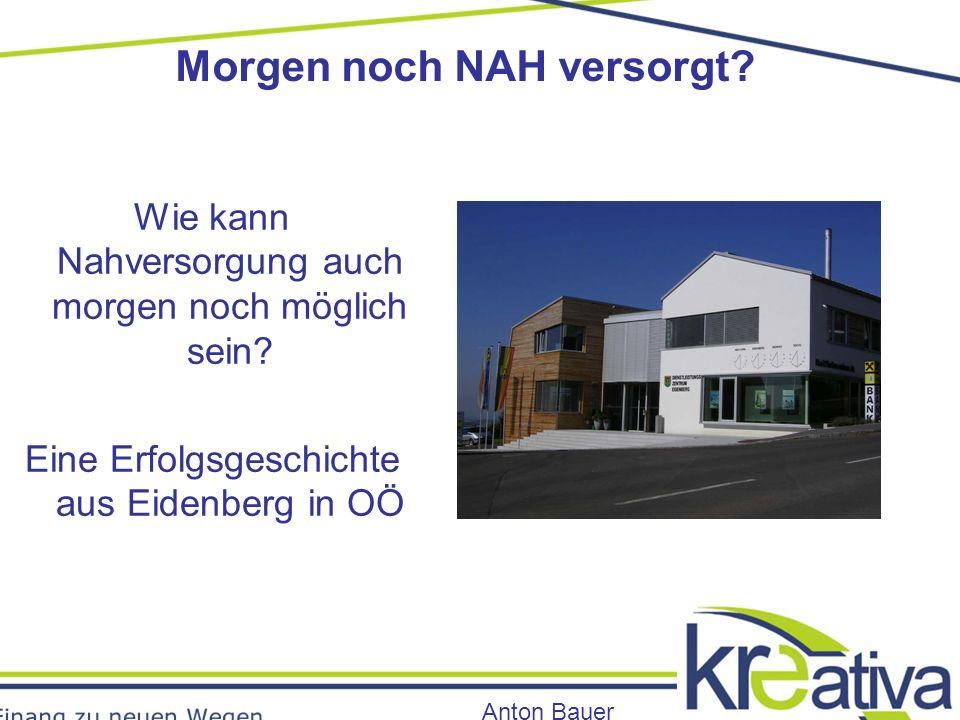 Morgen noch NAH versorgt. Anton Bauer Wie kann Nahversorgung auch morgen noch möglich sein.