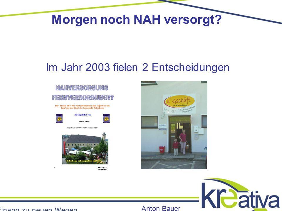 Morgen noch NAH versorgt Anton Bauer Im Jahr 2003 fielen 2 Entscheidungen