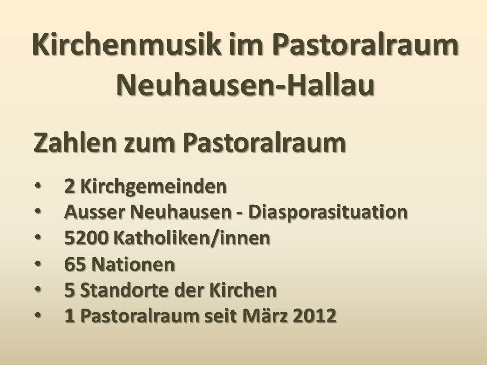 Kirchenmusik im Pastoralraum Neuhausen-Hallau Zahlen zum Pastoralraum 2 Kirchgemeinden 2 Kirchgemeinden Ausser Neuhausen - Diasporasituation Ausser Ne