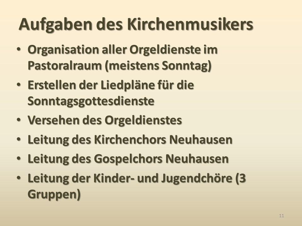 Organisation aller Orgeldienste im Pastoralraum (meistens Sonntag) Organisation aller Orgeldienste im Pastoralraum (meistens Sonntag) Erstellen der Li