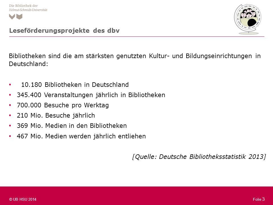 Folie 3 © UB HSU 2014 Folie 3 Bibliotheken sind die am stärksten genutzten Kultur- und Bildungseinrichtungen in Deutschland: 10.180 Bibliotheken in Deutschland 345.400 Veranstaltungen jährlich in Bibliotheken 700.000 Besuche pro Werktag 210 Mio.