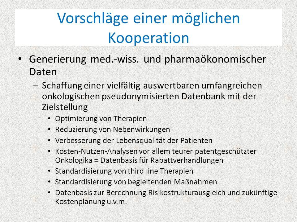 """Vorschläge einer möglichen Kooperation Medikationsmanagement """"Onko-ARMIN – Optimierung der Arzneimitteltherapie onkologischer Patienten i.d.R."""