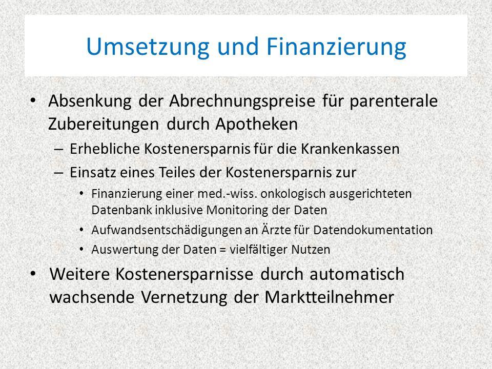 Umsetzung und Finanzierung Absenkung der Abrechnungspreise für parenterale Zubereitungen durch Apotheken – Erhebliche Kostenersparnis für die Krankenkassen – Einsatz eines Teiles der Kostenersparnis zur Finanzierung einer med.-wiss.