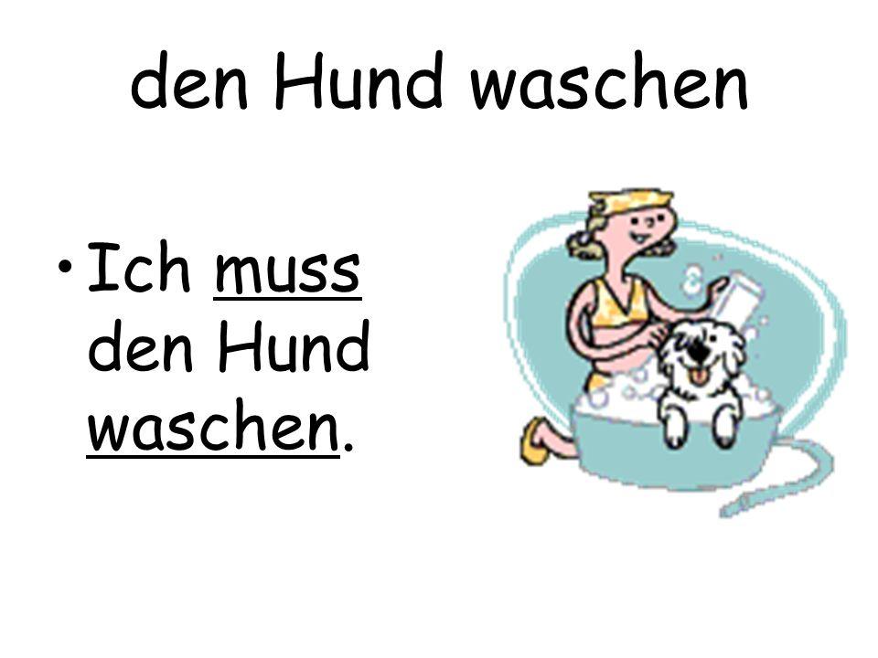 den Hund waschen Ich muss den Hund waschen.