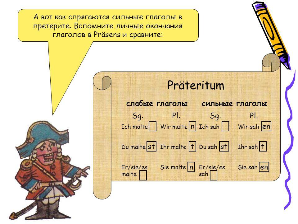 Сильные глаголы образуют претерит без суффикса –(e)te, обязательного для слабых глаголов.
