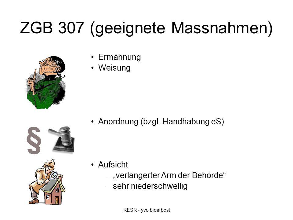 ZGB 307 (geeignete Massnahmen) Ermahnung Weisung Anordnung (bzgl.
