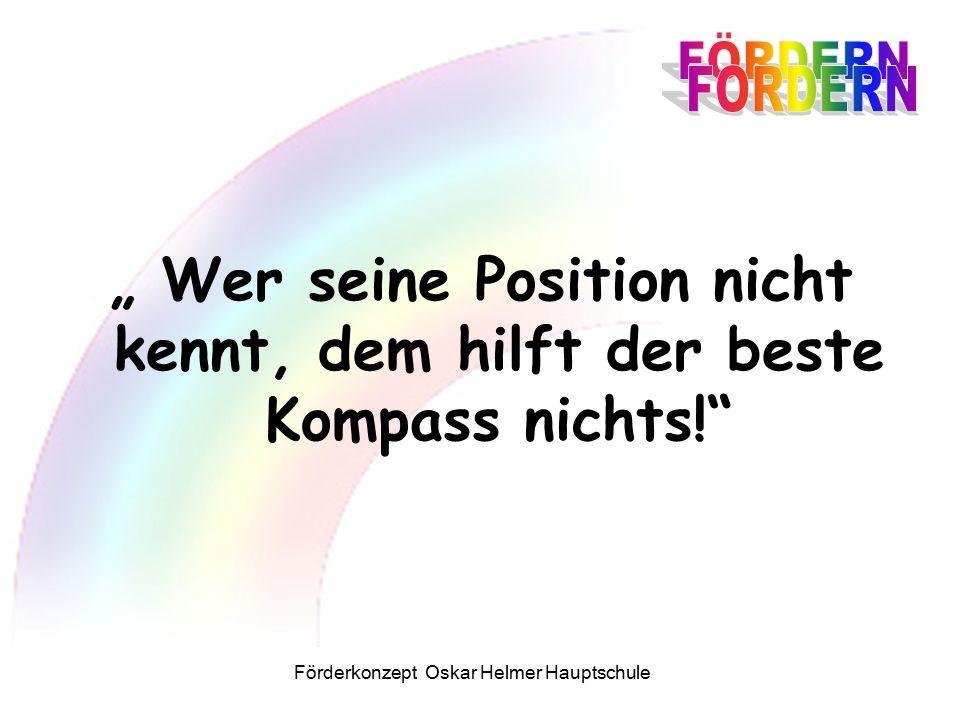 """Förderkonzept Oskar Helmer Hauptschule """" Wer seine Position nicht kennt, dem hilft der beste Kompass nichts!"""