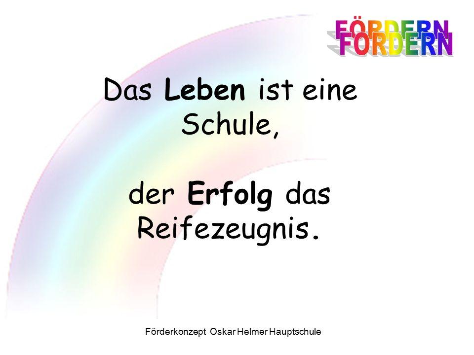 Förderkonzept Oskar Helmer Hauptschule Das Leben ist eine Schule, der Erfolg das Reifezeugnis.